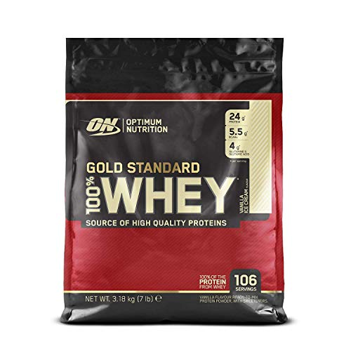 Optimum Nutrition Gold Standard Whey Protein Powder Muscle Building Supplements with Glutamine and Amino Acids, Vanilla Ice Cream, 106 Servings, 3.18 kg