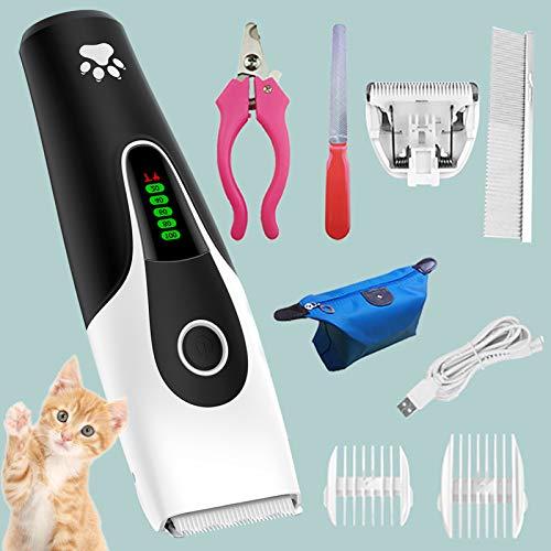 JOOFFF Silencios Cortapelos para Perros Gatos y Mascotas,2 Velocidad Recargable Maquina Cortar...