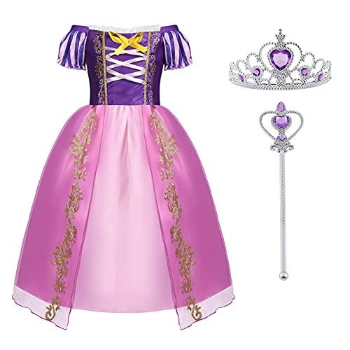 ACWOO Disfraz de Princesa, Rapunzel para Nia Vestido con Corona y Varita, Nia Princesa Vestido de Soplo Fiesta Vestido para Halloween Cosplay Carnaval, Morado