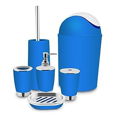 6 Piece Bathroom Accessories Sets, Black Bath Ensemble Bath Set Collection, Toothbrush Holder, Soap Dispenser Pump, Tumbler, Soap Dish, Toilet Brush, Trash Can 6PCS Bath Accessories Sets(Blue)