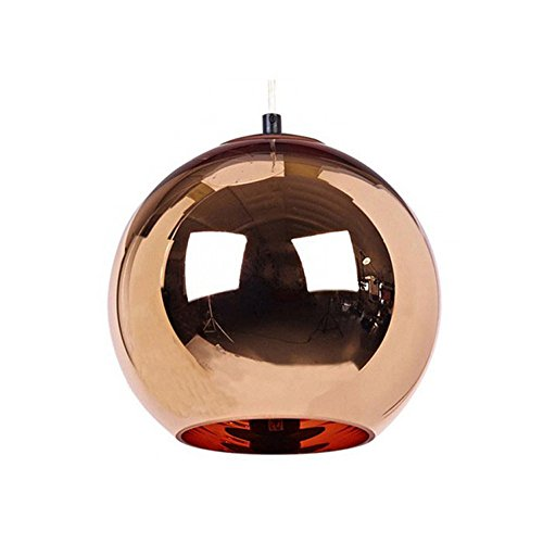 Modeen Creative Single Head Chrom Red Kupfer Spiegel Kugel Anhänger Lamp Globe Hanging Light Kronleuchter Barn Warehouse Metall Runde Lampenschirm Deckenleuchte ( Size : Diameter 40cm )