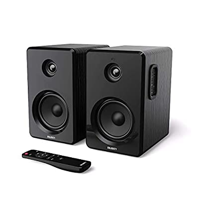Majority D40 Active Bookshelf Speakers Pair of Powered Stereo Hifi Book Ends with Amp and Multiple Audio & Sound Options, Ideal for Home Theatre, Gaming, Laptops/Desktop, Cabinet, Computer/PC Speakers from Majority