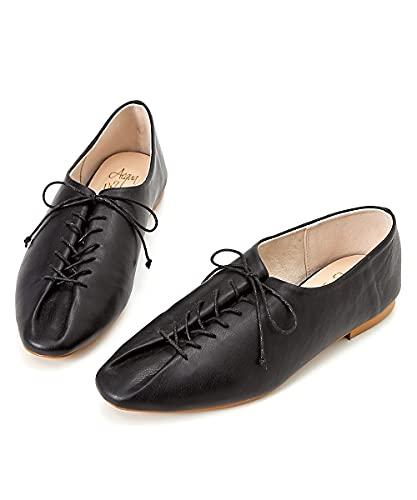 [ニッセン] 靴(シューズ) 【ゆったり幅広】 デザインレースアップシューズ(ワイズ4E) 黒 M・23.0~23.5cm/4E