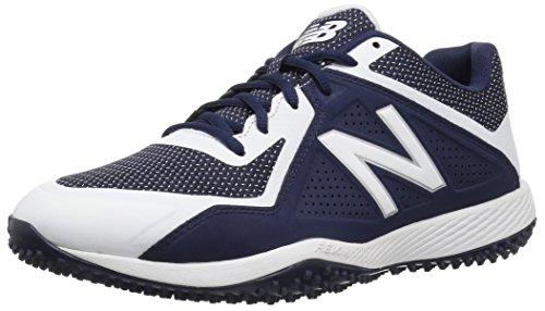 New Balance Men's 4040 V4 Turf Baseball Shoe, Navy/White, 16 2E US
