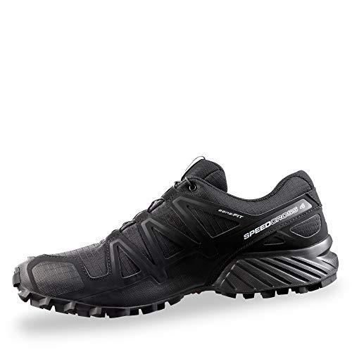 Salomon Men's Speedcross 4 Trail Running Shoes, Black/Black/Black Metallic, 13D (Medium)