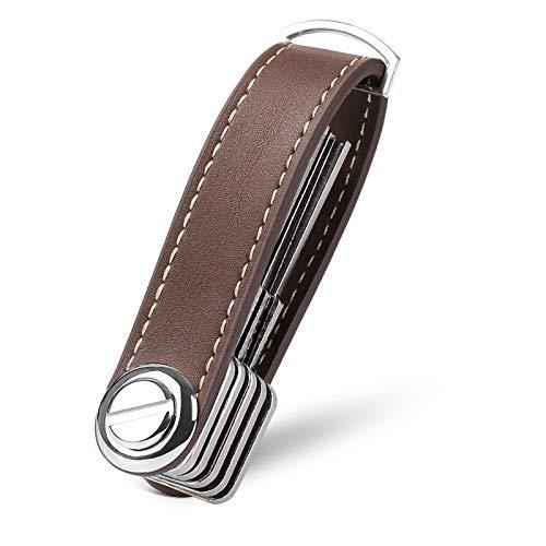 flintronic Key Organizer | Schlüsselanhänger Echtes Leder | Pocket Smart Key Holder mit Stilvoller,Funktionaler und Praktischer Geschenkbox (für 7-9 Mehrfachschlüssel) - Braun