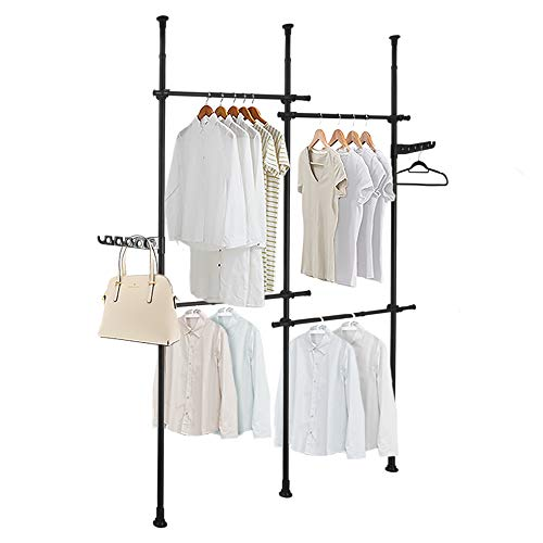 DYN Ptah Black Clothing Rack for Hanging Clothes Double 2 Tier Adjustable Heavy Duty Free-Standing Closet System Garment Racks Floor to Ceiling Cloth Organizer