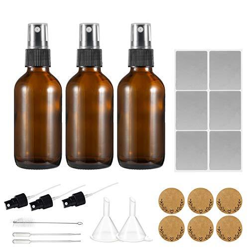 Falimore - 3 botes de cristal ámbar de 2.0fl oz rellenables con 3 pulverizadores adicionales, 1 cepillo, 2 goteros, 2 embudos, 6 etiquetas impermeables para aceites esenciales, perfumes