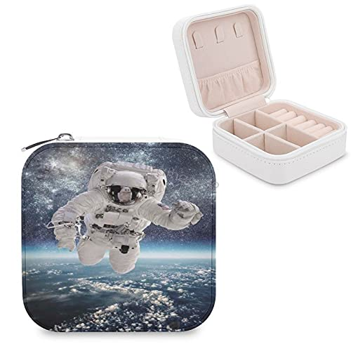 Travel Jewelry Box, Women Leather Small Jewelry Organizer Portable Jewelry Case for Necklace Earrings Rings, Outer Space Theme Astronaut in Milkyway Print Galaxy Star Dust Universe Earth
