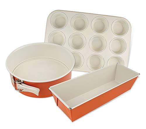 Dr. Oetker Backformen-Set DieMaus, runde Springform, hochwertige Kastenform aus Stahlblech, Formen mit Antihaftbeschichtung, langlebige Muffinform (Farbe: Maus-Orange/Creme), Menge: 1 x 3er Set