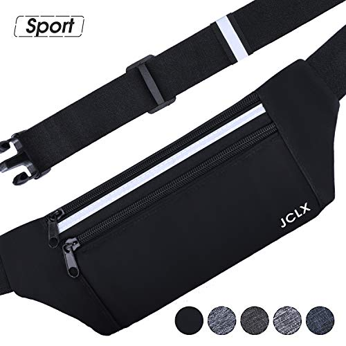 JCLX Running Waist Packs, Ultra Light Bounce Free Waist Pouch Fitness Workout Belt Sport Waist Pack Exercise Waist Bag for Apple iPhone 8 X 7 6+ 5s Samsung in Running Gym Marathon Cycling (Black)