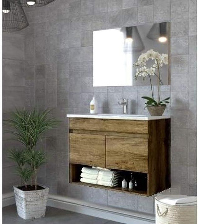Mobile bagno da cm 80 colore rovere venato con lavandino specchio arredo moderno sospeso - bagno italia M0B-0990-cos