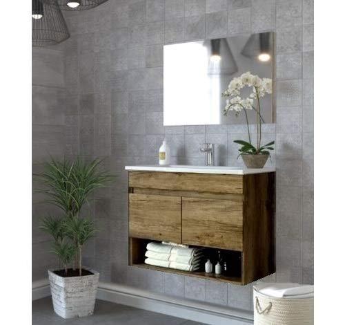 Bagno Italia Mobile Bagno da cm 80 Colore Rovere venato con lavandino Specchio arredo Moderno sospeso