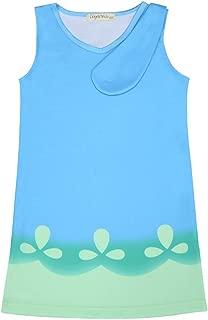 CosplayDiy Girl's Dress for Princess Trolls Cosplay Blue Dress Age 2+
