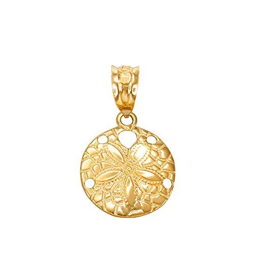 Dainty 10k Yellow Gold Sea Star Charm Sand Dollar Round Pendant