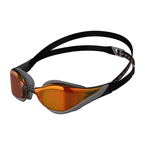 Speedo Fastskin Pure Gafas de natación, Unisex-Adult, Negro/Cool Grey/Fire Gold, Einheitsgröße