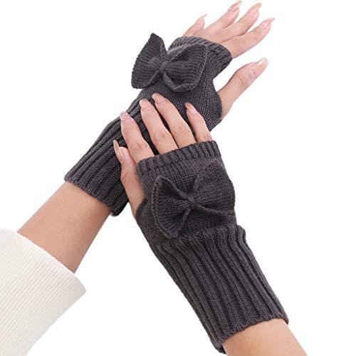 Vdn Djvn - Guantes y manoplas (2 unidades, fibra acrílica, guantes de invierno para mujer, sin dedos, con agujeros, 20 x 7 cm), multicolor