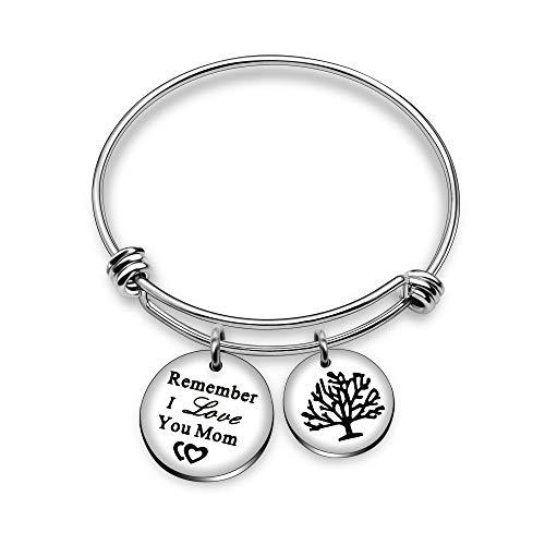 Pulsera inspiradora con colgante doble de árbol de la vida, y cuenta con texto en inglés: 'Remember I Love You Mom', ideal para regalar el Día de la Madre