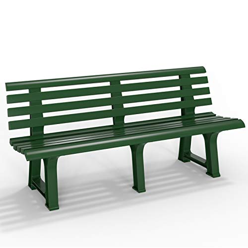 Deuba Banc de Jardin Parc Terrasse Extérieur Vert PVC - 145x49x74 cm Jardin