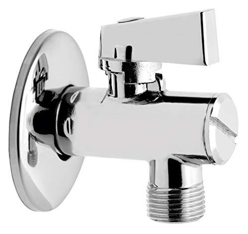 Ferro quarto di giro angolo valvola a sfera rubinetto 1/2' x 3/4' cromato lucido con rosetta e filtro