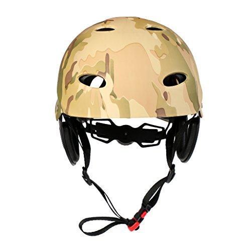 T TOOYFUL Casco Protettivo per Sport Acquatici per Bambini Adulti Sci Nautico Kitesurf Hard cap - Camo Verde dell\'Esercito