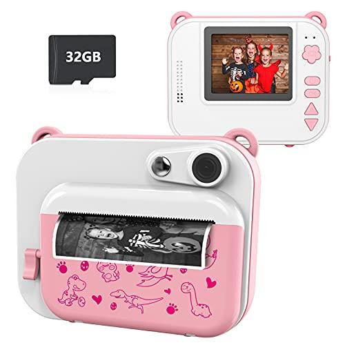Ushining Cámara para Niños, 1080P Cámara Digital para Niños con Pantalla IPS de 2.0 Pulgadas, Cámara Instantánea con Tarjeta Micro SD de 32 GB, Regalos Juguete para 3 a 12 Años Niños y Niñas - Rosa