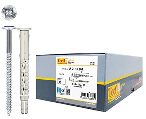 TECFI Handyplug 25 tacos universales alargados de nailon Ø10 x 140 mm, con tornillo cabeza redonda – Uso en todas las mampostería