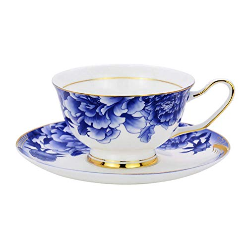 ACOOME Tea or Coffee Cups-6.8oz Bone China Ceramic Series Beautiful Flowers Tea Cup with Matching Saucers Father's Day Gift(Blue)