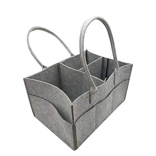Jiawawa voelde houten tas vilt mand open haard houten mandje, tijdschrift krant rack krant baby luier Caddy organisator, opvouwbare vilt opbergtas