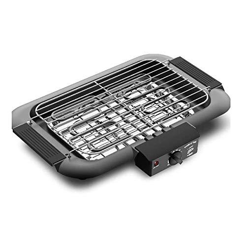 KOIUJ Rechteckige Edelstahl-Tisch Einstellbare Temperatur Kochplatte Kochen und Grillen Grill, Schwarz 2000W