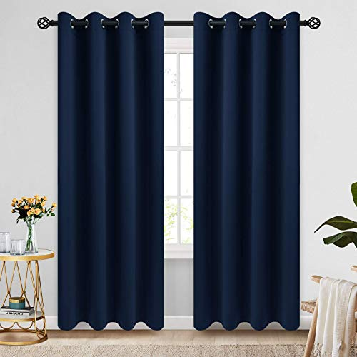 COSVIYA Grommet Blackout Room Darkening Navy Blue Curtains 84 inch Length 2 Panels,Thick Polyester Light Blocking Insulated Thermal Window Curtain Drapes for Bedroom/Living Room,52x84 inches