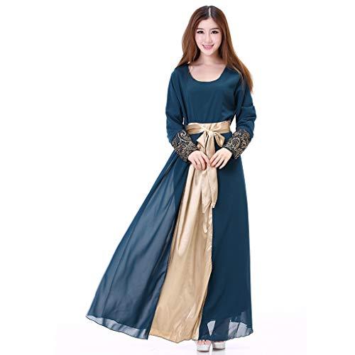 Muslimische Kleider Damen Lang,Lange Maxikleid Dubai Ethnisch Patchwork Kleid Islam Abaya Kaftan Muslim,Islamische Kleider Lang Kleid Maxikleid Lose Robe Kleid Muslim Arab Kleid Gebet Kleid