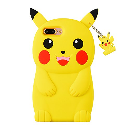 TopSZ Yellow Pikacu Case for iPhone SE 5C 5S 5G 5,Silicone 3D Cartoon Hero Animal Cover,Kids Girls Teens Boys Man Animated Cool Fun Cute Kawaii Soft Rubber Funny Unique Character Cases for iPhone5 SE
