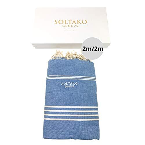 SOLTAKO XXXL 2x2m Fouta Strandtuch Handtuch Saunatuch Badetuch Hamamtuch Yoga Decke Pestemal in Jeansblau Farbe in eleganter Geschenkbox, extra groß, 200 x 200 cm