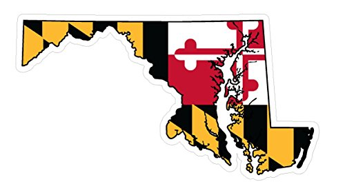CustomDecal US Maryland State (Q21) Shape Flag Vinyl Decal Sticker Car/Truck Laptop/Netbook Window