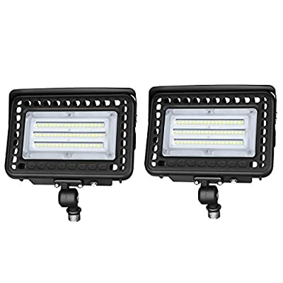 LEDMO 60W LED Flood Light with Dusk to Dawn Photocell, 7800Lm 5000K Knuckle Mount, IP65 Waterproof Super Bright LED Security Light for Outdoor Doorways Gardens Yards, Advertising Boards(2 Pack)