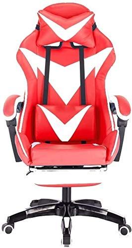 DBL Juegos Silla, sillón reclinable con reposapiés ergonómico Diseño Elevación Rotary silla de la computadora del hogar con apoyo for la cabeza y Masaje almohada lumbar Las sillas de escritorio