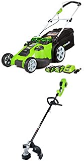 Greenworks 20-Inch 40V Twin Force Cordless Lawn Mower with 14-Inch 40V Cordless String Trimmer (Attachment Capable) Battery Not Include