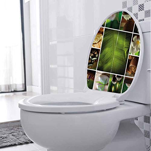 Art Sticker Murals Stone Herbal Botanic Plant DIY Removable Toilet Bathroom WC Wall Sticker for Toilet Wall Living Room Bedroom Kitchen, W21xH28 cm