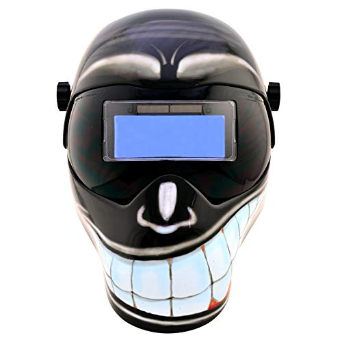 Save Phace Auto Darkening Welding Helmet Smiley EFP F-Series - Ear to Ear Vision Welder Hood Grinding Mask with 4.3 x 2 Inch Adjustable ADF for SMAC/MIG/TIG - 2 Sensors Solar Powered