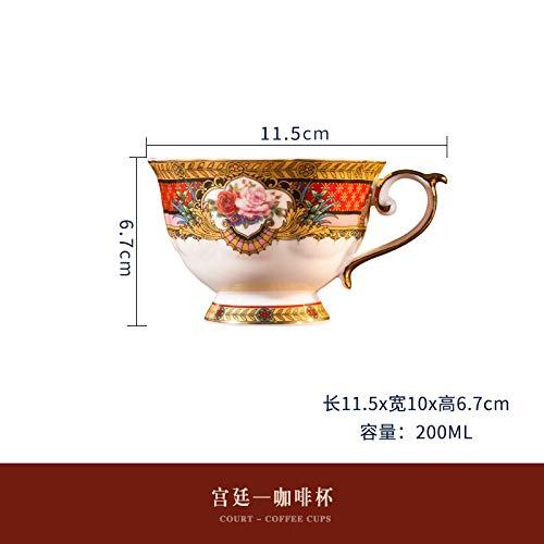 Juego de tazas de café de porcelana de hueso con diseño de azafrán, taza de té de tarde, taza de té para el hogar y la corte individual
