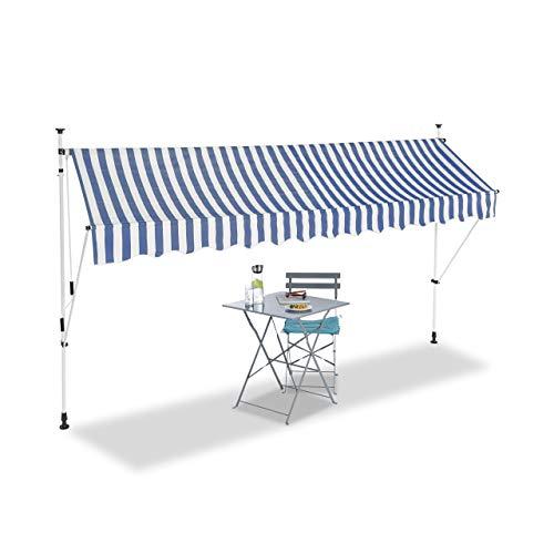 Relaxdays, blau Klemmmarkise, Balkon Sonnenschutz, einziehbar, Fallarm, ohne Bohren, verstellbar, 350 cm breit, gestreift