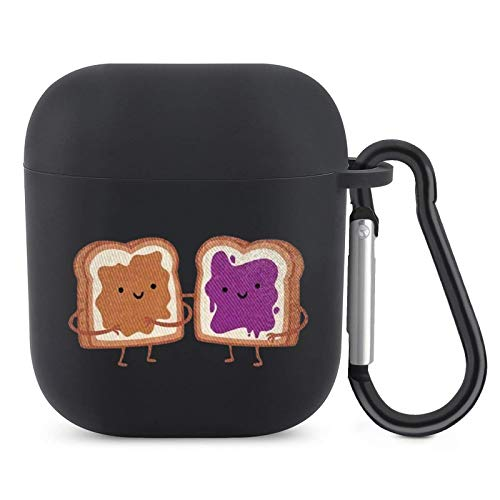 Peanut Butter and Jelly Airpods Case with Keychain Full Protective Silicone Skin Cover Compatible with Apple Airpods 2/1