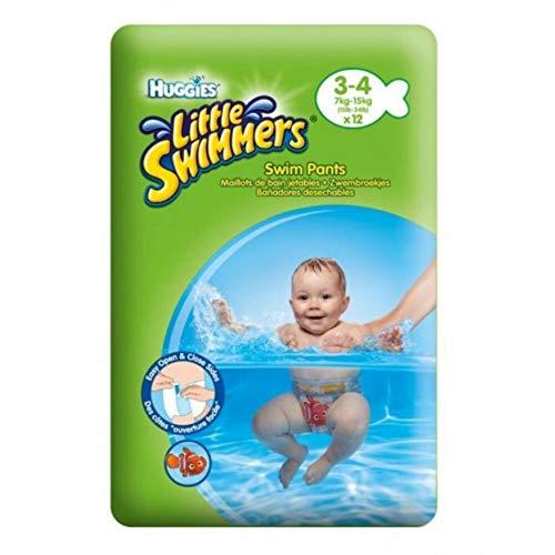 HUGGIES Pañales Little Swimmers Talla 3/4 (7 a 15 kg) - Paquete de 12 pañales