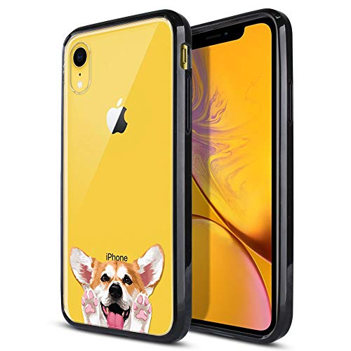 FINCIBO Case Compatible with Apple iPhone XR 6.1 inch, Slim Shock Absorbing TPU Bumper + Clear Hard Protective Case Cover for iPhone XR - Red Pembroke Welsh Corgi Dog