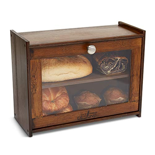 G&S Noble Designs Double Layer Bread Box - Ships Fully Assembled - Acrylic Window - Kitchen Bread Storage - Brushed Nickel Handle - Countertop Keeper - Loaf/Dessert - Airtight - Bread Saver -Dark Wood
