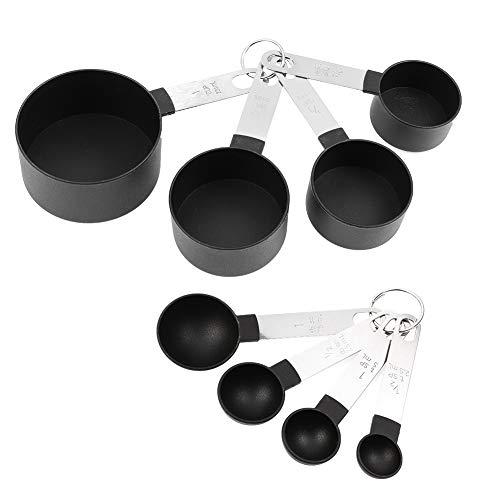 adakel Edelstahl Messbecher und Löffel mit Messlineal, 4 Cup Messbecher+4 Messlöffel, für Trockene und Flüssige Zutaten