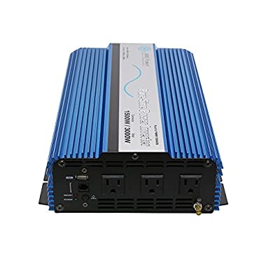AIMS Power 1500 Watt Pure Sine Power Inverter 12 VDC to 120 VAC USB Port