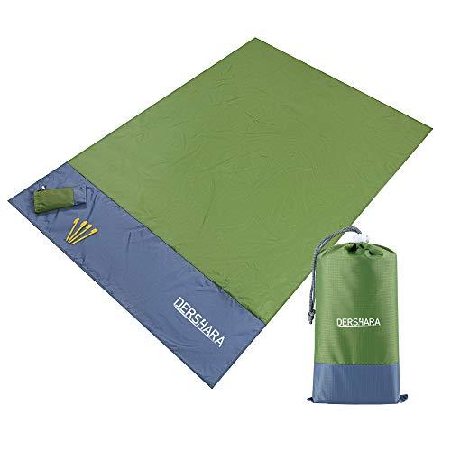 DERSHARA Picknickdecke, Campingmatte 140 × 200 cm, Stranddecke, Picknick-Matte Wasserdicht Sanddicht (Armeegrün)