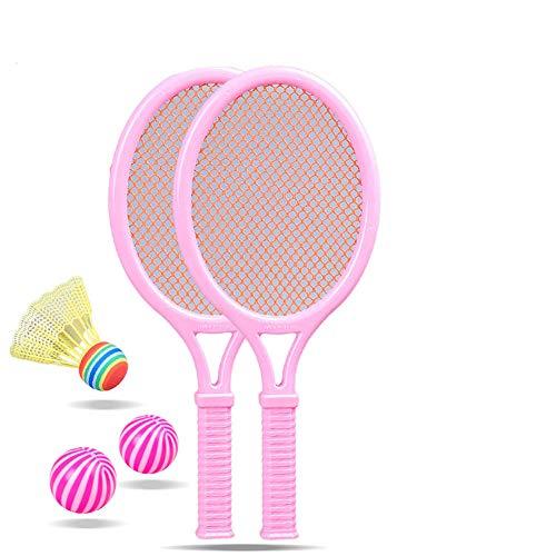 ddmlj Raqueta De Tenis para Niños Deportes Al Aire Libre Raqueta De Bádminton Juego De Juguetes De Plástico para Playa Jardín De Infantes De Clase Pequeña Y Grande-Rosa